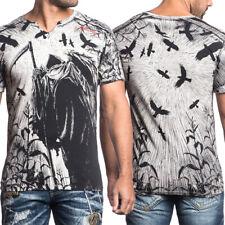 Affliction Corn Reaper Skeleton Grim Reaper Crows Mens Slit V-Neck T-Shirt Black