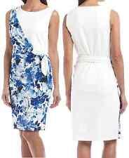 Nine West Havana Multi Blue/White Floral Stretch Ponte Combo Dress 10606638-4NV