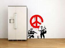 "Banksy Graffiti ""Cnd Pace Firmare soldati"" Arte Adesivi da parete DECOR alta qualità"
