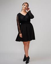 Lane Bryant Fit Flare Dress w/ Lace 14 16 18 20 22 24 Women Plus Black 1x 2x 3x