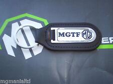 MGTF MG TF Genuine Leather Keyfob Keyring  Chrome / Black MG Logo mgmanialtd.com