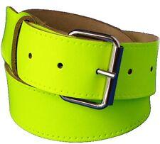 Yellow Real leather Hi Viz Belt With Free Buckle small Medium Large xl xxl