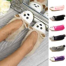 Womens ladies raccoon bear face novelty gift elastic slip on slippers socks size