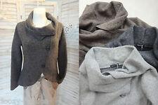 Feminin! Jacke Blazer Wolle tailliert asymmetrisch Braun Grau 38 40 NEU