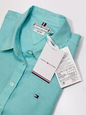 Tommy Hilfiger Women's Casual Linen Shirt  (Aqua)    RRP £75