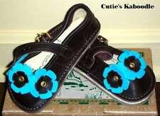 NIB NEW BEAR FEET Brown Turquoise Blue Flower MJ Shoes 7 6