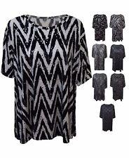 New Women Ladies Sequin Scoop Neck Print Smock Top T-shirt Plus Size 12/26