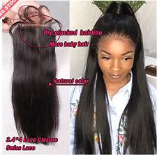 "Peruvian 8A Virgin Remy Human Hair Unprocessed Silk Straight 4x4"" Lace Closure"