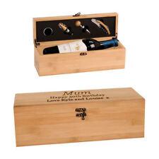 Personalised Wine Bamboo Storage Box and 4 Piece Wine Set Engraved Birthday Gift