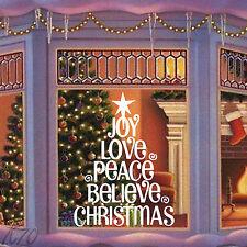 Árbol De Navidad gran arte de pared calcomanía pegatina de vinilo de disfrutar de Love Paz creer
