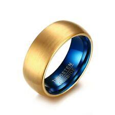 18K Gold Brushed Band Blue Plating Tungsten Carbide 8mm Mens Wedding Ring Sz7-12
