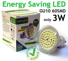 GU10 60 SMD LED Lamp Warm White 3W Spotlight Light Bulb 220V 250LM 5 10 15 20 24