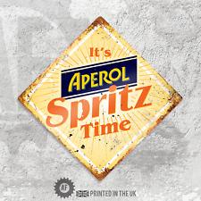 Diamond Aperol Spritz Time Metal Wall Sign Pub Bar Home Retro Cocktail Kitchen