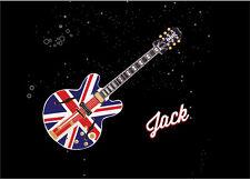 Personalizado de Union Jack Guitarra nombre de arte cartel impresión