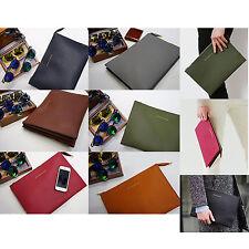 Korea New Men Women Square EMBO Faux Leather Clutch Bag Pouch Purse Briefcase