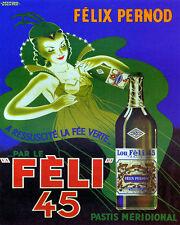 POSTER FELIX PERNOD FELI 45 ABSINTHE GREEN FAIRY FRENCH VINTAGE REPRO FREE S/H