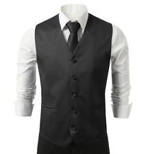 NEW Mens Black Dress Vest and Neck Tie Set, All sizes(S~3XL)