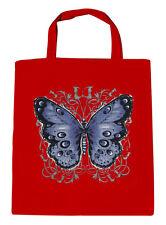 Bolsa de algodón tela Compras con impresión Mariposa 06992-2 rojo