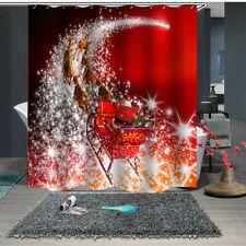 3D Christmas Santa Ride Carriage Bathroom Waterproof Shower Curtain+ Hooks Decor