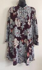 NEW Ex Wallis Burgundy Floral Print Button Shirt Blouse Top Size S/M/L/XL