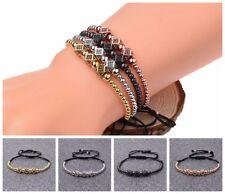Trendy Diy Luxury Pave Cz Cube Polygon Bracelet Men Women Stone Bead Bracelets