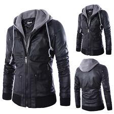 Mens Warm Hoodie Jacket PU Leather Cotton Lining Winter Coats Overcoat Outwear