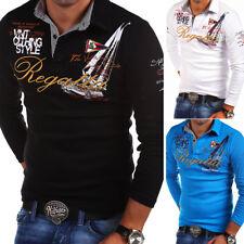 a3b47b187fe1 G.B.D. Herren Poloshirt Slim Fit Hemd Langarm Polo T-Shirt Schwarz Weiß Blau