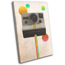 Camera Polaroid Retro Abstract Vintage SINGLE CANVAS WALL ART Picture Print