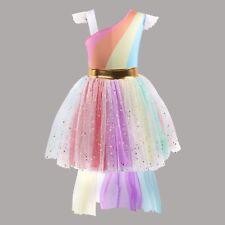 Kids Girls Rainbow Color Glitter Unicorn Tutu Party Cosplay Costume Dress