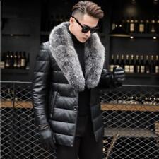 ##Men Large Fur Collar Leather Coat 90% Duck Down Jackets Thicken Warm Outwear