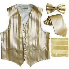 New Men's stripes Tuxedo Vest Waistcoat & necktie & Bow tie & Hankie Gold Beige