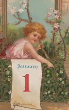 Beautiful Girl on Balcony Flowers January 1 New Year Postcard