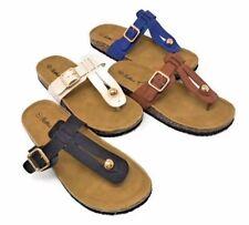 NEW Women's Slide Buckle T-Strap Cork Footbed Platform Flip Flop Sandals