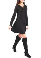 Womens Ladies BLACK Swing Dress Long Top Tie String Neck 8 10 12 14 16