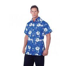 Blue Hawaiian Adult Men's Luau Party Shirt Floral Short Sleeves Costume STD-XXL
