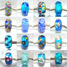 'BLUES' -  Blue murano glass european charm beads - Various designs
