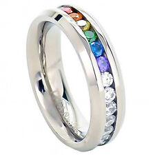 Pride Shack - Lesbian Gay Pride Wedding Ring Band Rainbow String Smooth Full CZ