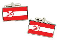 Leiden (Netherlands) Flag Cufflinks in Chrome Gift box