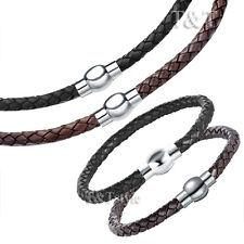 TT Leather 6mm S.Steel round Magnet Buckle Collar Necklace+Bracelet Set CL01