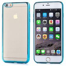 iPHONE 6 6S PREMIUM ULTRA SLIM BLUE TRANSPARENT SILICONE GEL TPU CASE COVER NEW