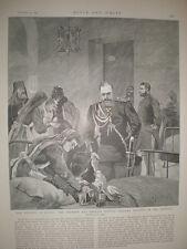 Czar Alexander III of Russia visits cholera victims in hospital 1892 print