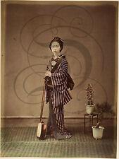 PLAQUE ALU DECO PHOTO ANCIENNE JAPON JAPAN VERS 1880 INSTRUMENT MUSIQUE TENUE