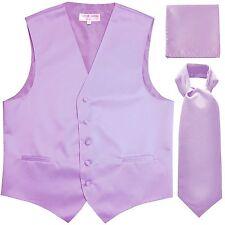 New Men's Solid Tuxedo Vest Waistcoat & Ascot Cravat Set Lavender Wedding formal