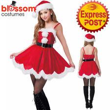 K711 Ladies Christmas Costume Santa Helper Xmas Fancy Dress Up Party Outfit Hat