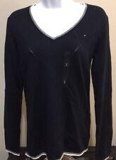 Tommy Hilfiger Women's V Neck Cotton Argyle Sweater, Navy