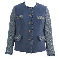 MARINA RINALDI Women's Blue Centuria Fringe Wool Jacket $1435 NWT
