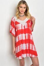 Coral White Tie Dye Lace Neckline Beach Dress