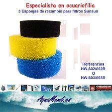 recambio filtro sunsun hw 602 603 602A 603B esponja espuma filtracion acuario