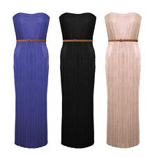 Bandeau Neckline Pleated Crinkle Waistbelt  Strapless Long Maxi Dress