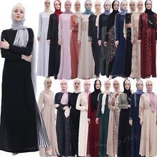 Muslim Women Long Sleeve Abaya Maxi Dress Robe Jilbab Islamic Cocktail Party New